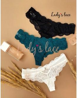Купить Набор кружевных бразильянок Зеленый в интернет-магазине нижнего белья Lady's Lace.